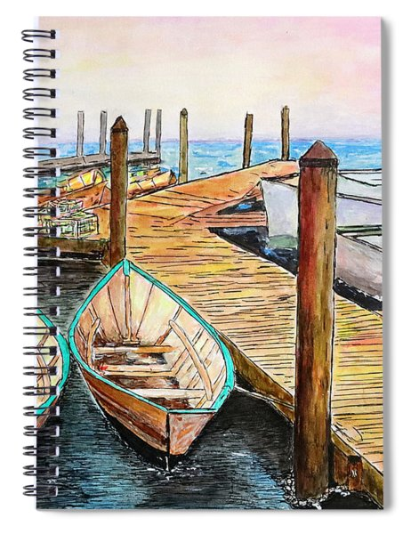 At The Dock In Gloucester Massachusetts Spiral Notebook