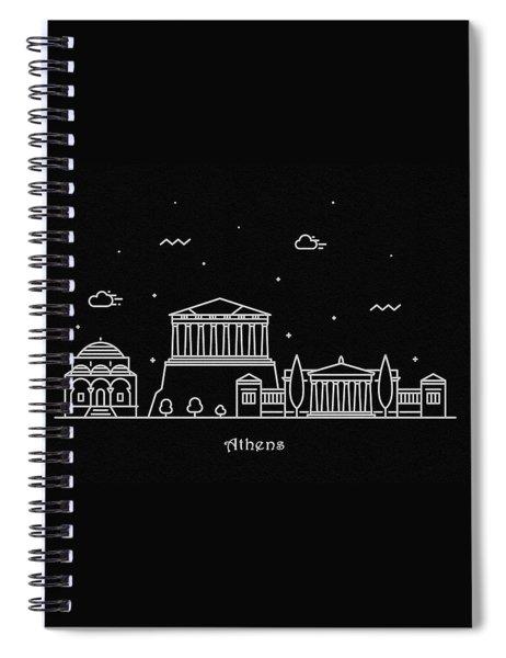 Athens Skyline Travel Poster Spiral Notebook