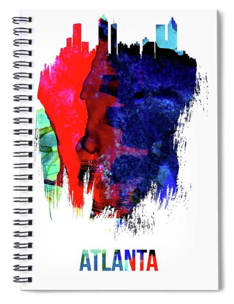 Atlanta Skyline Brush Stroke Watercolor   Spiral Notebook