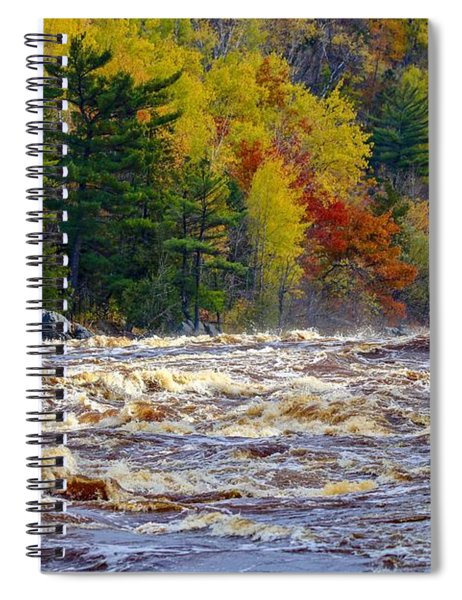Autumn Colors And Rushing Rapids   Spiral Notebook
