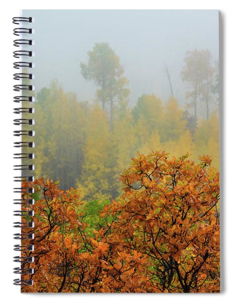Spiral Notebook featuring the photograph Autumn Foggy Day by John De Bord