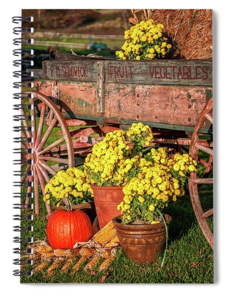 Autumn Harvest Vintage Wagon Spiral Notebook