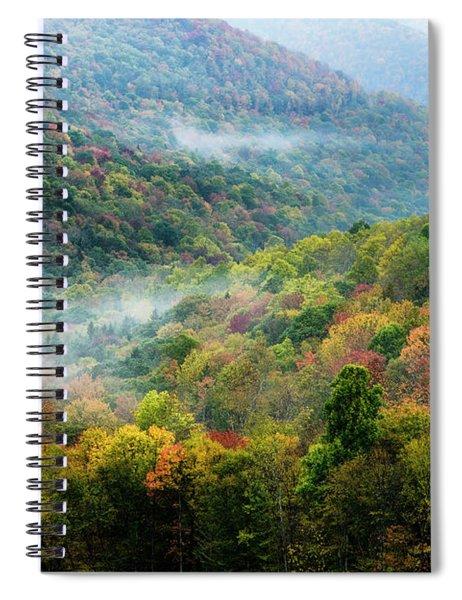Autumn Hillsides With Mist Spiral Notebook