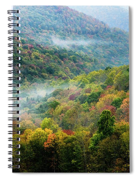 Autumn Hillsides With Mist Spiral Notebook