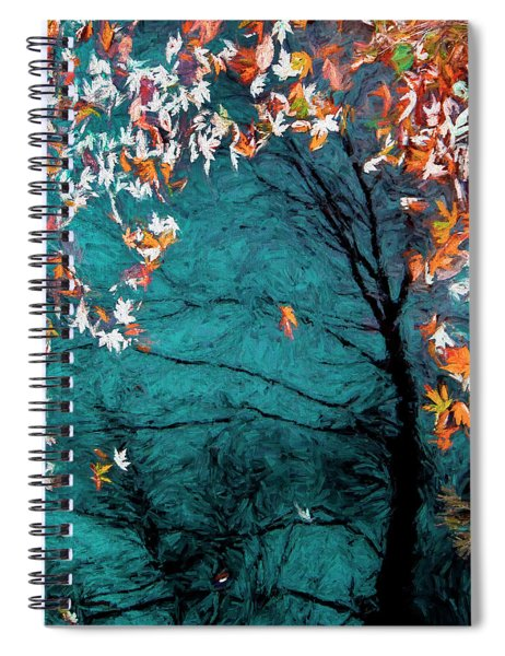 Autumn In A Blue Pool Spiral Notebook