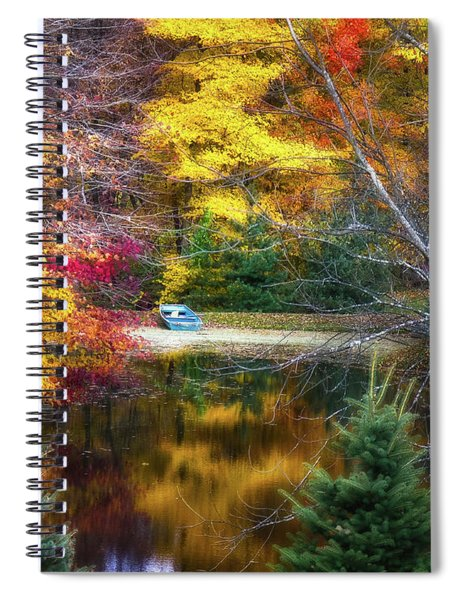 Autumn Pond With Rowboat Spiral Notebook