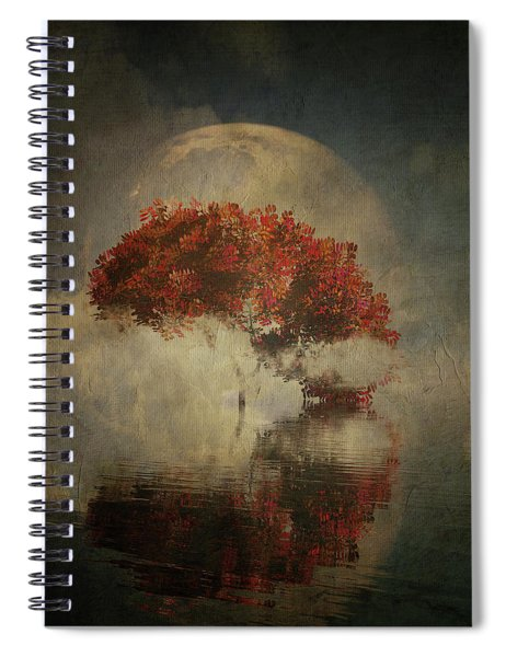 Spiral Notebook featuring the digital art Autumn Tree In The Mist by Jan Keteleer