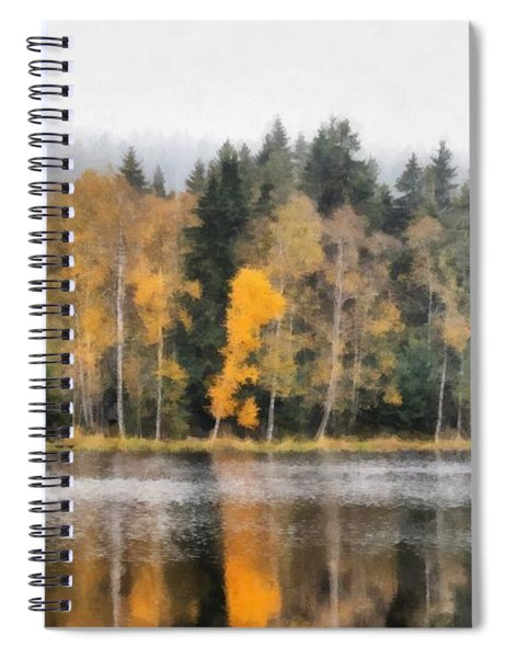 Autumn Trees On The Bank Of Lake Spiral Notebook