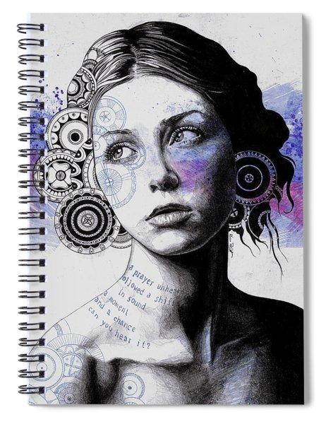 Ayil - Vintage Lady Portrait, Mandala Doodles Sketch Spiral Notebook