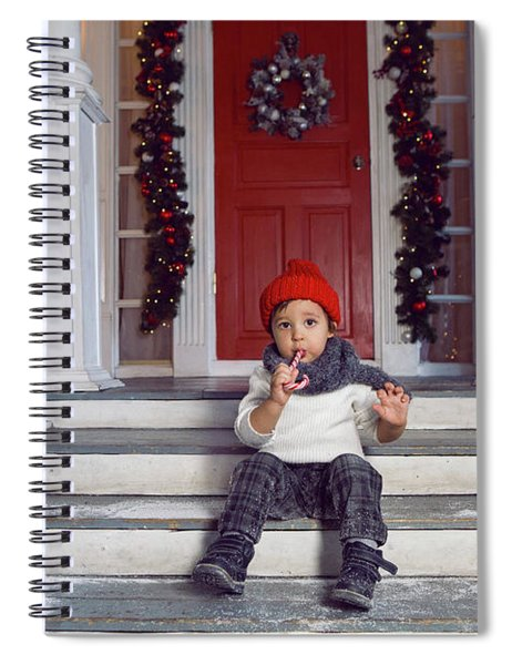 Baby Boy Sitting On The Steps Of The House With Snow Spiral Notebook