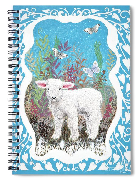 Baby Lamb With White Butterflies Spiral Notebook