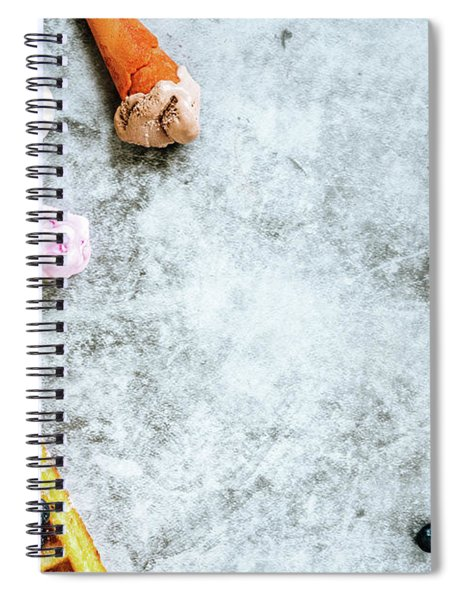 Background Of Tasty And Sweet Foods With Red Fruits And Waffles, Spiral Notebook