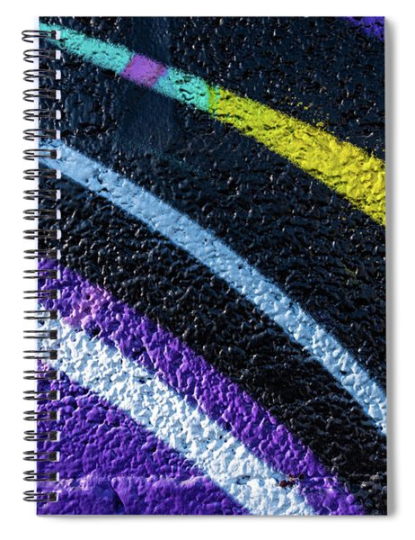 Background With Wall Texture Painted With Colorful Lines. Spiral Notebook