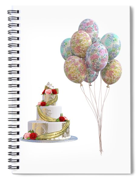 Balloons And Cake Spiral Notebook