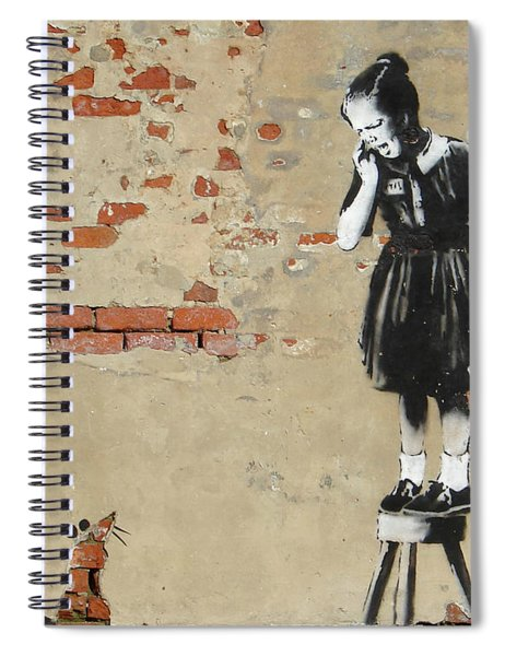 Banksy New Orleans Girl And Mouse Spiral Notebook