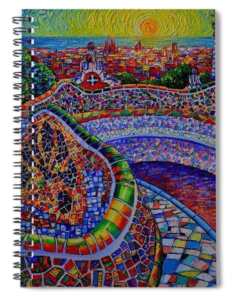 Barcelona Park Guell Sunrise Modern Impressionist Impasto Knife Oil Painting Ana Maria Edulescu Spiral Notebook
