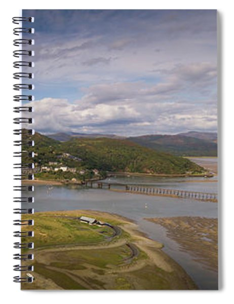 Barmouth And The Mawddach Estuary Aerial Panorama Spiral Notebook