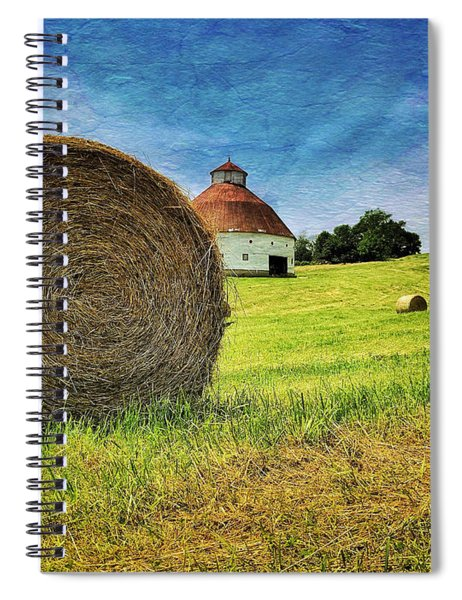 Spiral Notebook featuring the photograph Barn And Bales All Around by Andrea Platt