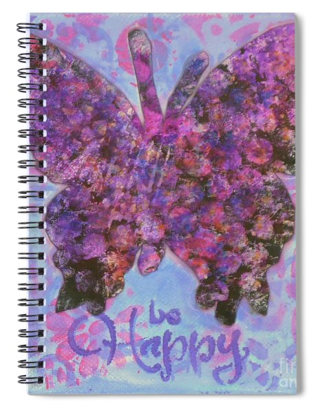 Be Happy 2 Butterfly Spiral Notebook