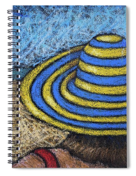 Beach Hat Blue And Yellow Spiral Notebook