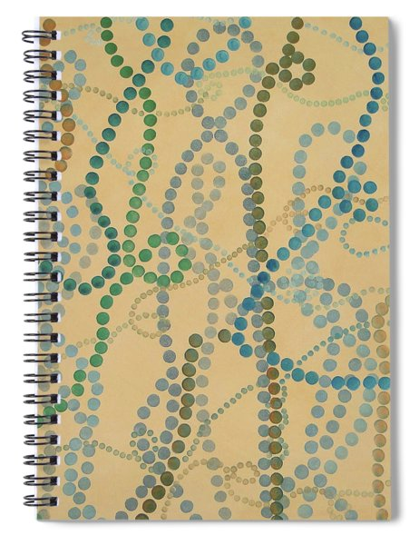 Spiral Notebook featuring the painting Bead And Pearls - Trendy by Lisa Smith