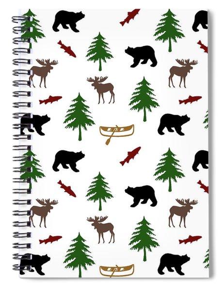Bear Moose Pattern Spiral Notebook