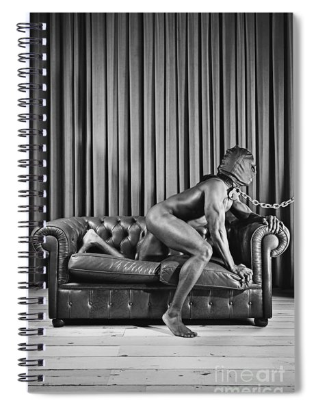 Beautiful Naked Man With Mask Posing On A Sofa Spiral Notebook