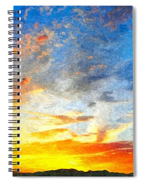 Beautiful Sunset In Landscape In Nature With Warm Sky, Digital A Spiral Notebook
