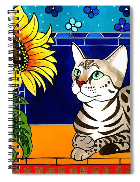 Beauty In Bloom - Savannah Cat Painting Spiral Notebook