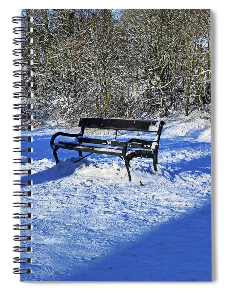 Bench In The Snow Spiral Notebook