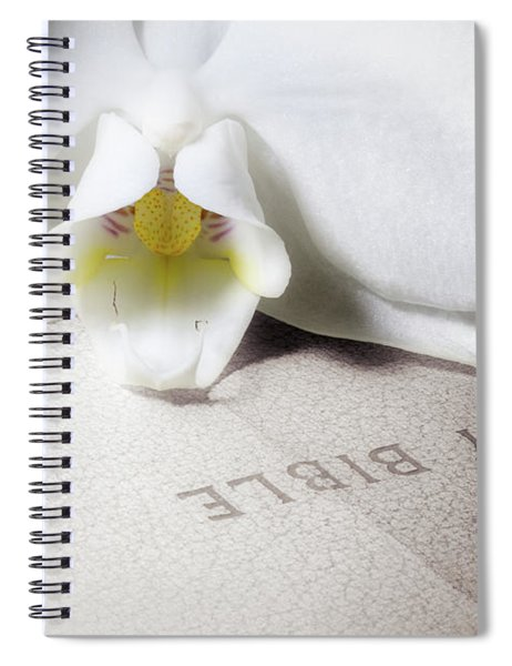 Bible With White Orchid Spiral Notebook