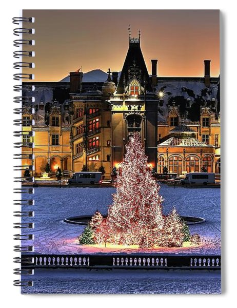 Biltmore Christmas Night All Covered In Snow Spiral Notebook
