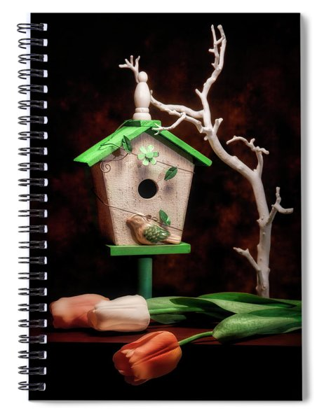 Birdhouse With Tulips Spiral Notebook