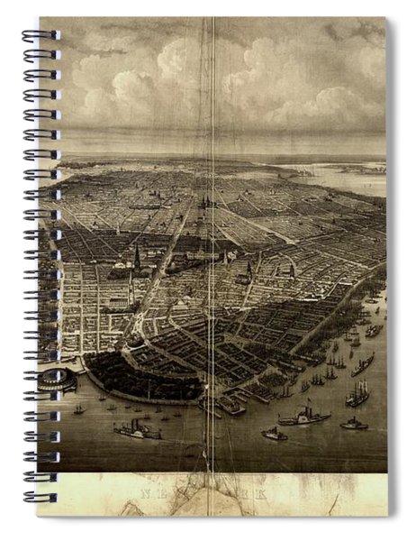 Bird's-eye View Of New York City 1851  Spiral Notebook