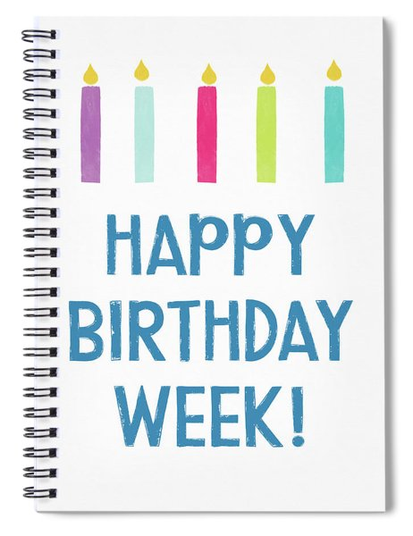 Birthday Week Candles- Art By Linda Woods Spiral Notebook