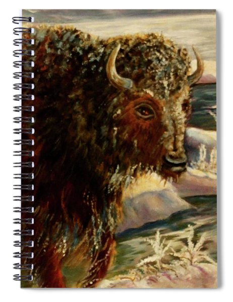 Bison In The Depths Of Winter In Yellowstone National Park Spiral Notebook