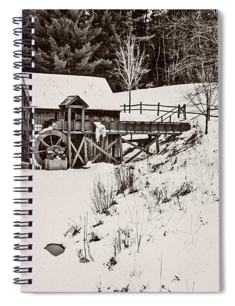 Black And White Art Photograph.winter At The Gristmill. Spiral Notebook