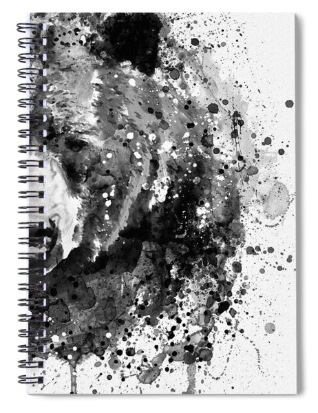Black And White Half Faced Grizzly Bear Spiral Notebook