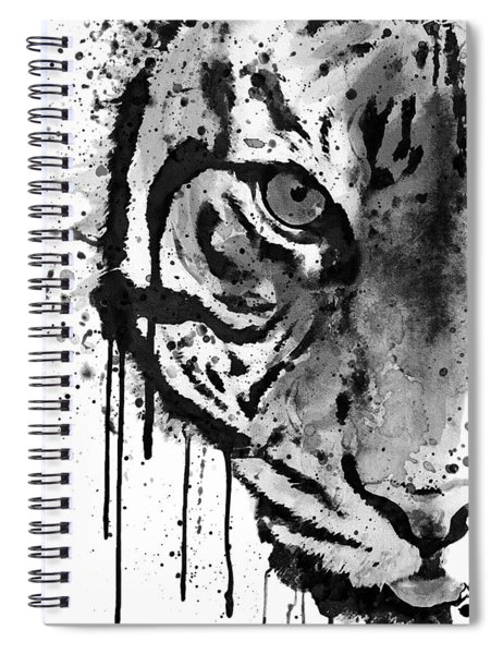 Black And White Half Faced Tiger Spiral Notebook