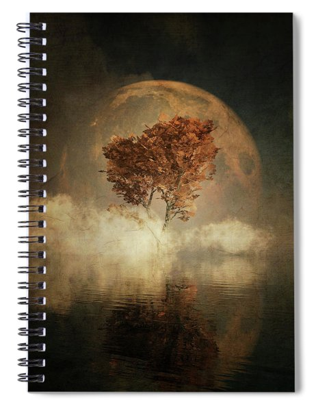 Black Ash With Full Moon In The Mist Spiral Notebook