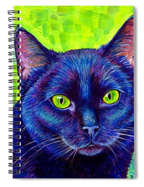 Black Cat With Chartreuse Eyes Spiral Notebook