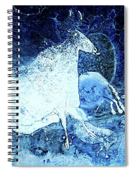 Black Cow And Horses - Negative  Spiral Notebook