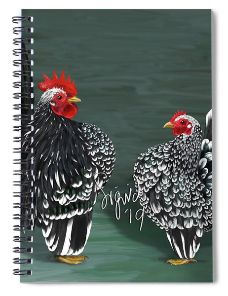 Black Mottled Serama Pair Spiral Notebook
