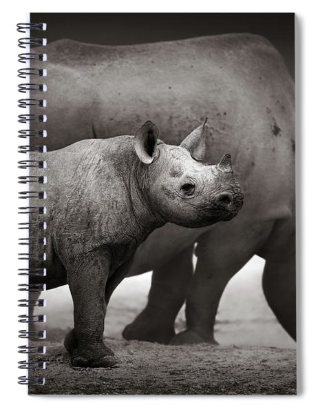 Black Rhinoceros Baby And Cow Spiral Notebook