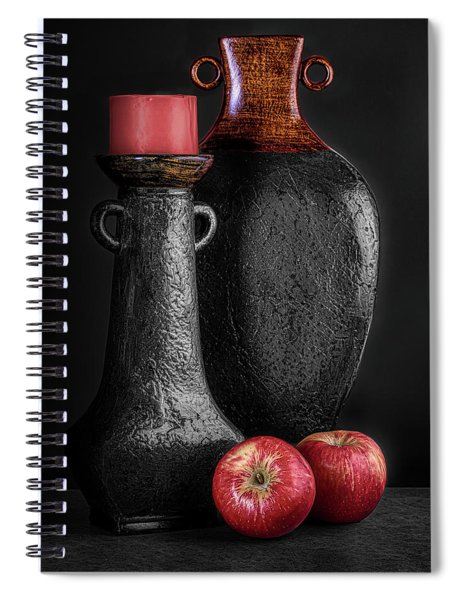 Black Vase With Red Apples Spiral Notebook