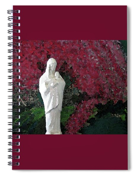 Blessed Mother And Jesus By Flowering Tree Spiral Notebook