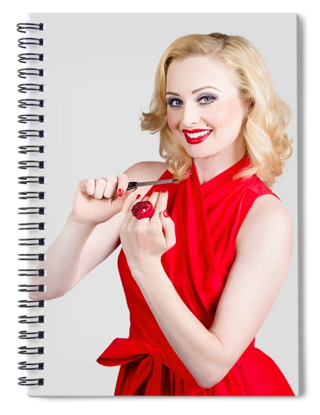 Blond Pinup Woman In Red Dress Making Manicure Spiral Notebook