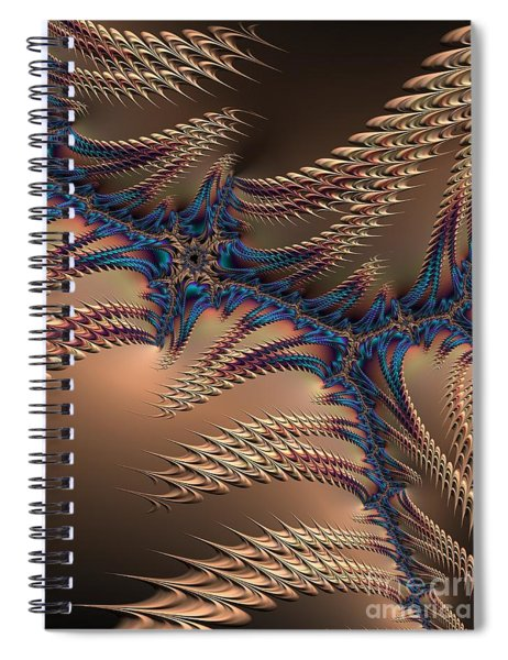 Blue And Copper Lightening At Night Fractal Abstract Spiral Notebook by Rose Santuci-Sofranko