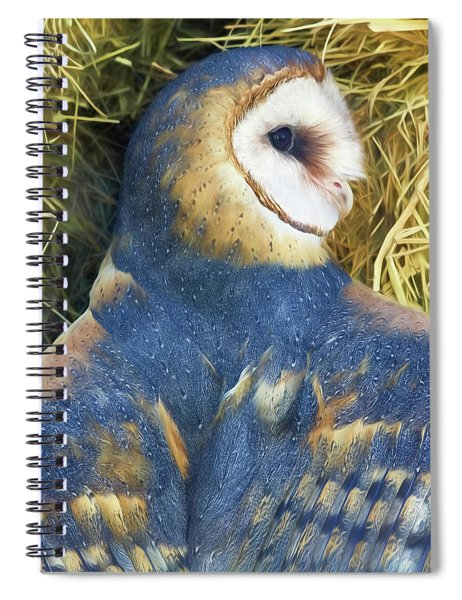 Blue Barn Owl Spiral Notebook