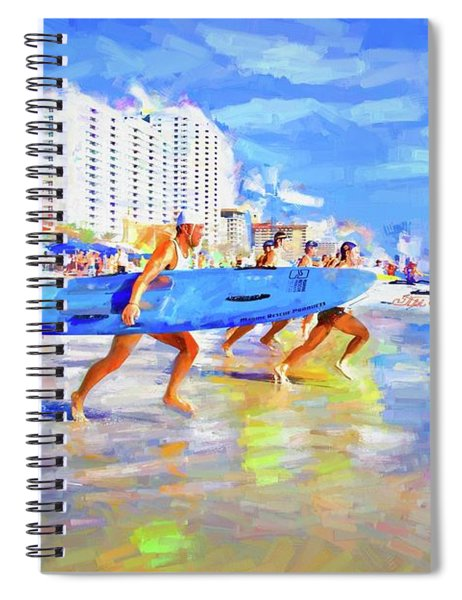 Blue Board Fast Into Ocean Spiral Notebook
